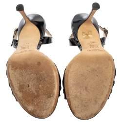 Jimmy Choo Black Patent Leather Slingback Sandals Size 40.5