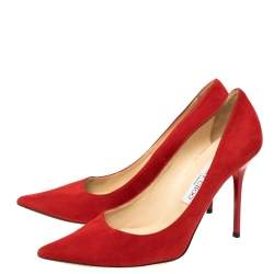 Jimmy Choo Red Suede Abel  Pumps Size 38.5