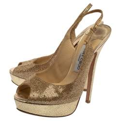 Jimmy Choo Metallic Gold Glitter Verity Peep Toe Slingback Platform Sandals 38.5