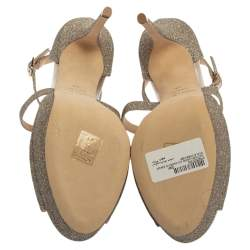 Jimmy Choo Gold Glitter Jenique Sandals Size 40