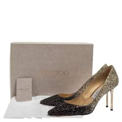 Jimmy Choo Black/Gold Ombre Coarse Glitter Fabric Romy Pointy Toe Pumps Size 40
