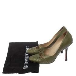 حذاء كعب عالي جيمي تشو مزين فيونكة مقدمة مستديرة جلد أخضر زيتوني مقاس 37