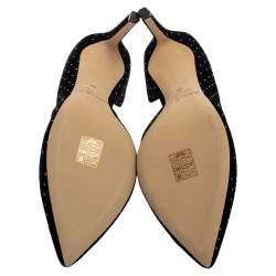 Jimmy Choo Black Velvet Glitter Spotted Sophia Pointed Toe Pumps Size 39