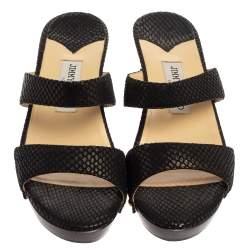 Jimmy Choo Black Python Embossed Leather Slides Size 37.5