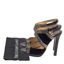 Jimmy Choo Black Crochet Fabric Embellished Slingback Sandals Size 37
