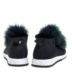 Jimmy Choo Green Knit And Lurex Norway Pom Pom Sneakers Size 38.5
