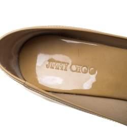 Jimmy Choo Beige Patent Leather Cork Wedge Peep Toe Pumps Size 36