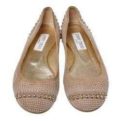 Jimmy Choo Black Suede Welda Studded Ballet Flats Size 35