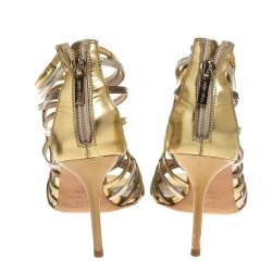 Jimmy Choo Gold/Silver Leather Cage Sandals Size 36.5