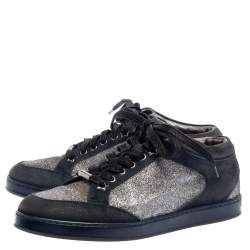 Jimmy Choo Blue Glitter And Suede Miami Low Top Sneakers Size 38