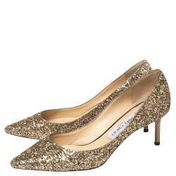 Jimmy Choo Gold Coarse Glitter Romy Pointed Toe Pumps Size 37
