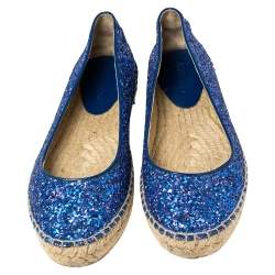 Jimmy Choo Blue Glitter And Patent Leather Espadrilles Size 38.5