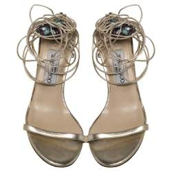 Jimmy Choo Metallic Gold Leather Embellished Ankle Wrap Sandals Size 39