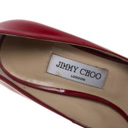 Jimmy Choo Red Patent Leather Peep-Toe Pumps Size 39.5