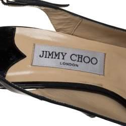 صندل جيمي تشو فيتا فتحة كعب نعل سميك مقدمة مفتوحة جلد لامع أسود مقاس 40