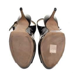 Jimmy Choo Black Patent Leather Vita Peep Toe Platform Slingback Sandals Size 40