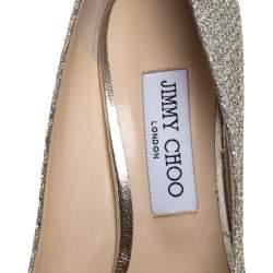 حذاء كعب عالي جيمي تشو رومي مقدمة مدببة غليتر ذهبي مقاس 40