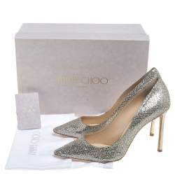 Jimmy Choo Gold Glitter Romy Pointed Pumps Size 40