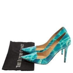 Jimmy Choo Blue/White Patent Leather Avril Pointed Toe Pumps Size 40