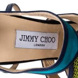 Jimmy Choo Multicolor Mix Media Lythe Honeycomb Sandals Size 37