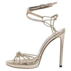 Jimmy Choo Gold Leather Lovella Ankle Strap Sandals Size 38