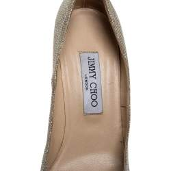 Jimmy Choo Metallic Gold Glitter Fabric Romy Pointed Toe Pumps Size 39.5