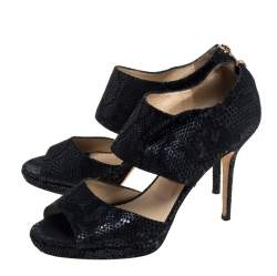 Jimmy Choo Black Textured Suede Private Cuff Sandals Size 39