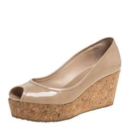 Jimmy Choo Beige Patent Parley Peep Toe Cork Wedge Pumps Size 40