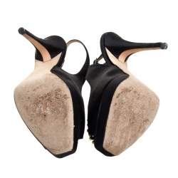 Jimmy Choo Black Satin Peep Toe Sandals Size 39