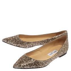 Jimmy Choo Gold Glitter Romy Flats Size 38.5