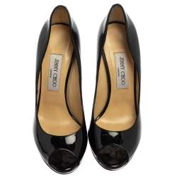 Jimmy Choo Black Patent Crown Peep Toe Pumps Size 39