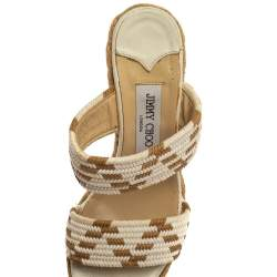 Jimmy Choo White/Brown Cotton Blend Wedge Sandals Size 38