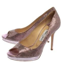 Jimmy Choo Purple Coarse Glitter Dahlia  Pumps Size 39.5