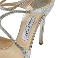 Jimmy Choo Metallic Silver Crackle Leather Lance Sandals Size 41