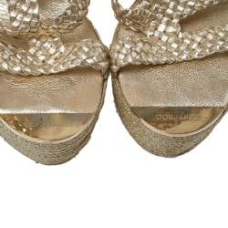 Jimmy Choo Gold Parody Braided Leather Wedge Sandals Size 39.5
