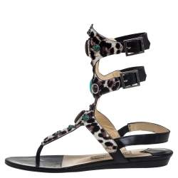 Jimmy Choo Leopard Print Calf Hair And Black Leather Bliss Embellished Flat Sandals Size 37