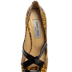 Jimmy Choo Yellow/Black Leopard Print Patent Leather Gesture Platform Pumps Size 39.5