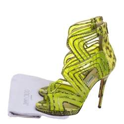 Jimmy Choo Neon Python And Mesh Magnum Sandals Size 40