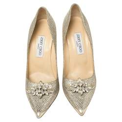 Miu Miu Silver Glitter Crystal Embellished Pointed Toe Pumps Size 40