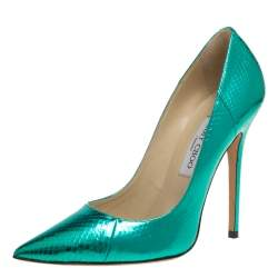 Jimmy Choo Metallic Green Python Embossed Leather Abel Pumps Size 39.5