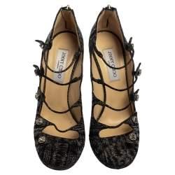 Jimmy Choo Black Tweed Strappy Sandals Size 40