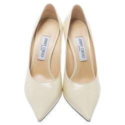 Jimmy Choo Cream Leather Abel Pointed Toe  Pumps Size 40