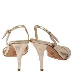 Jimmy Choo Gold Leather Slingback Sandals Size 39