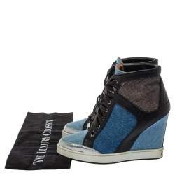 Jimmy Choo Blue/Black Denim And Leather  Wedge Panama  Sneakers Size 37.5