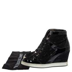 Jimmy Choo Black Lace And Patent Leather Wedge Panama  Sneakers Size 37.5