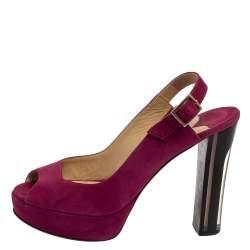 Jimmy Choo Purple Suede  Peep Toe Sling back Sandals Size 38.5