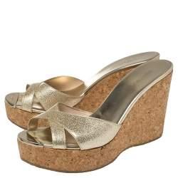 Jimmy Choo Gold Patent Leather Prima Cork Wedge Platform Sandals Size 41