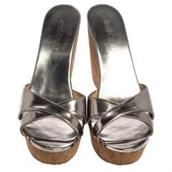 Jimmy Choo Silver Leather Wedge  Sandals Size 40.5