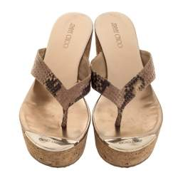 Jimmy Choo Beige/Brown Python Embossed Leather Thong Wedge Sandals Size 37