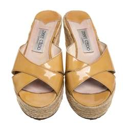 Jimmy Choo Yellow Patent Leather Wedge Crisscross Sandals Size 37.5